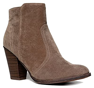 Western Chelsea Ankle Boot - Elastic Pull On Bootie - Cute Suede Wrapped Low Heel - Everyday Walking Shoe