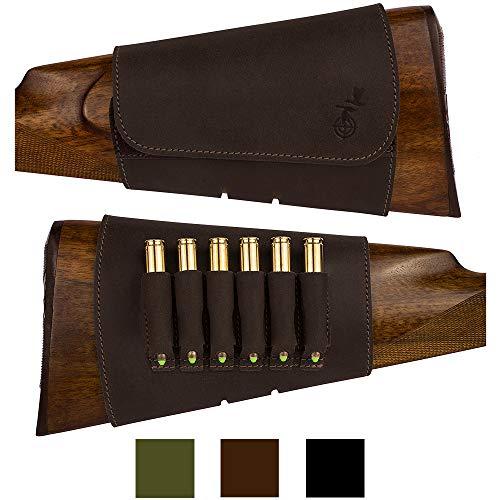 BronzeDog Hunting Buttstock Ammo Cartridge Holder Pouch Adjustable 12, 16 Ga, Leather Rifle Shell Holder Shotgun Stock Right Handed Black Brown Khaki (7.62, Brown)