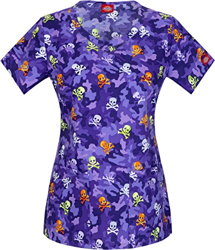 Everyday Scrubs Signature by Dickies Women's Round Neck Halloween Print Scrub Top Large Print (Halloween Scrubs)