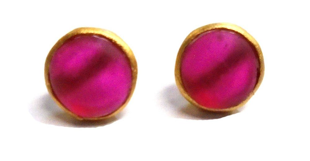 Michael Vincent Michaud- Glass ''Round Stud Earrings'' in Light Ruby