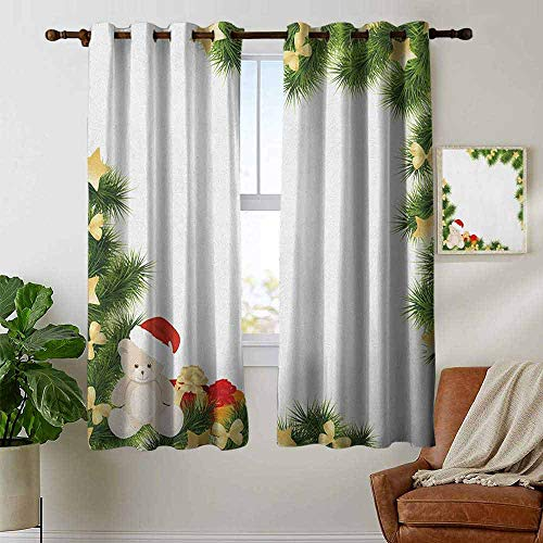 petpany Customized Curtains Kids Christmas,Cute Teddy Bear on Evergreen Branches with Stars Bowties Surprise Boxes, Green Gold Red,Blackout Draperies for Bedroom Living Room 42
