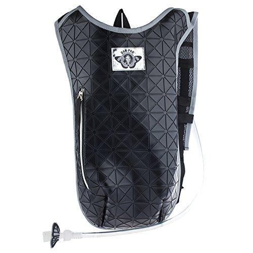 Dan-Pak Hydration Pack 2l- Black Tar -Black Rubber Faux Leather Geometric Design