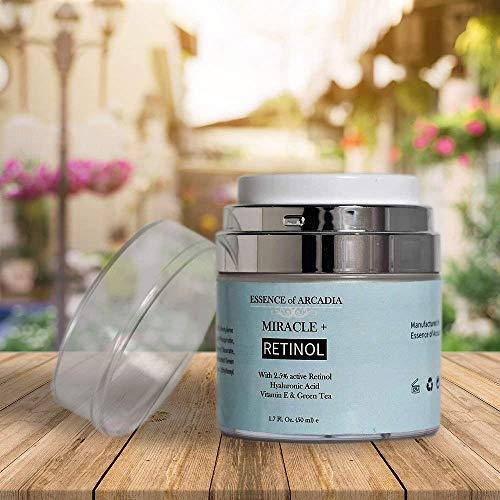 51XGW8yZqQL - Retinol Moisturizer Cream High Strength for Face and Eye Area Miracle Plus - 2.5% Retinol, Hyaluronic Acid, Vitamin E, Green Tea - Anti aging Formula Reduces Wrinkles, Fine Lines, Spots-Day and Night
