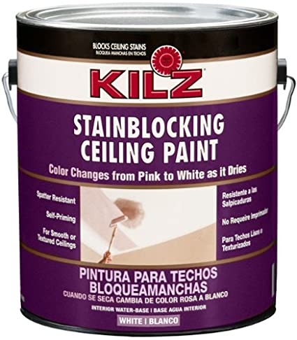 Superbe KILZ Color Change Stainblocking Interior Ceiling Paint, White, 1 Gallon