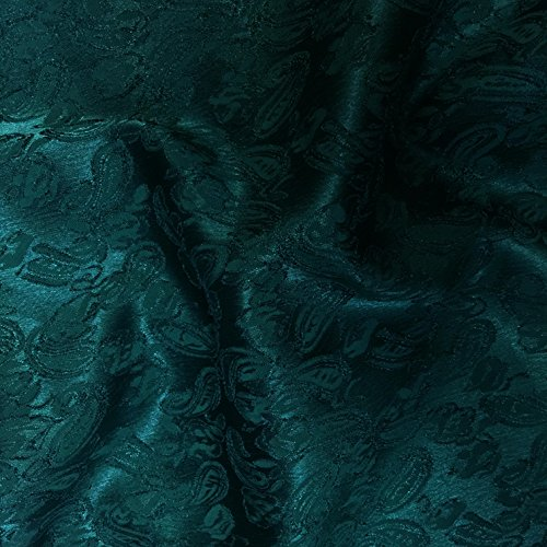 Green Paisley Design Jacquard Brocade Cotton Poly Fabric Sold by The Yard (Poly Brocade)