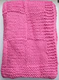 """Babykins Hand Knitted Patchwork Baby Blanket 30x36"""" (Rose)"""