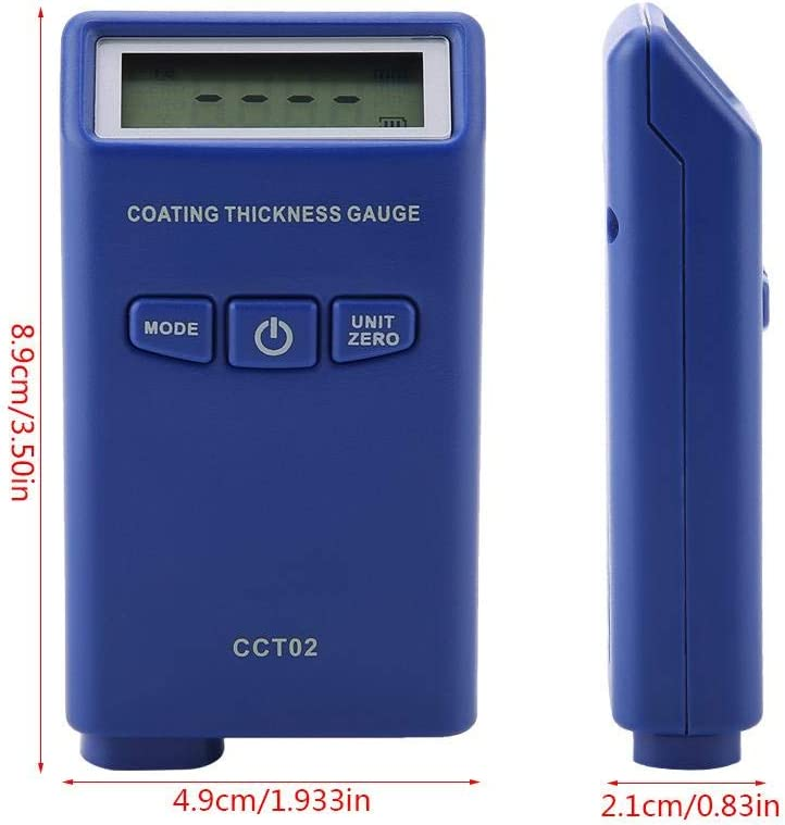 Jadpes Coating Thickness Meter Gauge,LCD Digital Automotive Aluminum-Iron Dual-Purpose Electroplated Paint Film Coating Thickness Gauge Car Paint Thickness Tester Meter