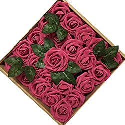Jing-Rise 50PCS Fake Roses Real Looking Artificial Flowers For DIY Wedding Bouquets Centerpieces Baby Shower Party Home Office Shop Hotel Supermarket Decorations (Fuchsia)