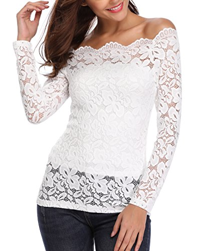 Sexy Off Shoulder Lace Tops for Women Floral Lace Patchwork Long Sleeve Twin Set Blouse White X-Large