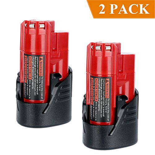 Biswaye 2 Pack 12V Lithium Battery 2500mAh for 12-Volt Milwaukee M12 RED Lithium-ion Compact Battery Packs 48-11-2420 48-11-2401 48-11-2411 48-11-2440