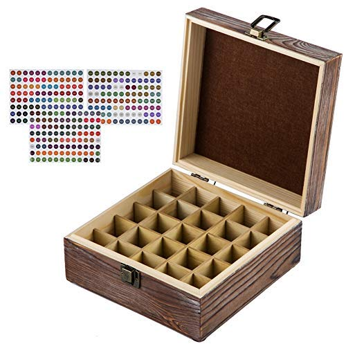 HABOM Rustic Essential Oil Wooden Storage Box - with 25 Slots for 5, 10, 15ml Bottles, Essential Oils Wooden Case Perfect for Display & Presentation (dark brown) ()
