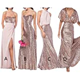 alilith.Z Sexy Rose Gold Sequins Bridesmaid Bresses Chiffon Long Mermaid Prom Dresses Women