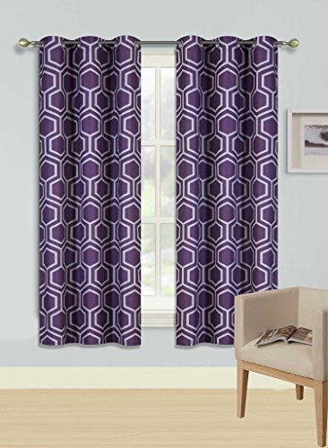 Gorgeous Home F#039SDIFFERENT COLORS amp SIZES 2PC PANELS SWIRL DOTS PATTERN PRINTED THERMAL FOAM LINED BLACKOUT HEAVY THICK WINDOW CURTAIN DRAPES SILVER GROMMETS F9 SILVER GEOMETRIC 63quot LENGTH