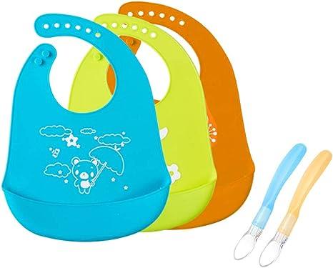 DoGeek babero silicona Pack de 3 baberos bebe alimentación ...
