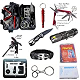 AIGOROSE Emergency Survival Kit 11-in-1 Outdoor Survival Gear Tool with Survival Bracelet, Folding Knife, Flashlight, Emergency Blanket, Fire Starter, Whistle, Raincoat for Camping Travel