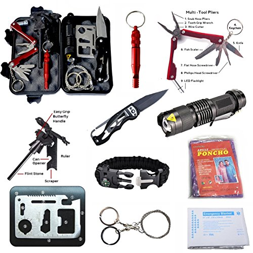 AIGOROSE Emergency Survival Kit 11-in-1 Outdoor Survival Gear Tool with Survival Bracelet, Folding Knife, Flashlight, Emergency Blanket, Fire Starter, Whistle, Raincoat for Camping Travel by AIGOROSE