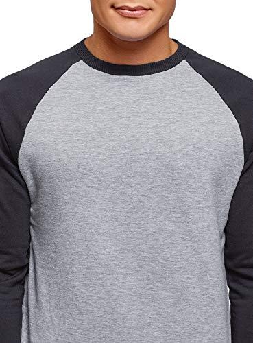 En Gris Coton Ultra Contrastantes shirt 2079m Manches Sweat Homme Oodji Avec xwBg6ZwS