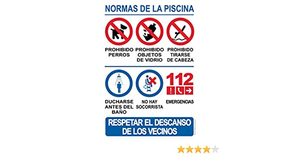 Cartel resistente PVC - NORMAS DE PISCINA - Señaletica de aviso - ideal para colgar y advertir (10)