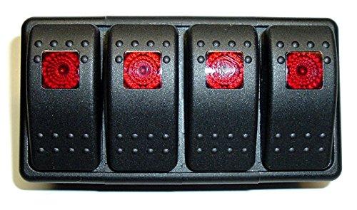Lighted Rocker Panel Switch (Fastronix Lighted (4) Weatherproof Rocker Switch Panel Auto/Marine (Red))