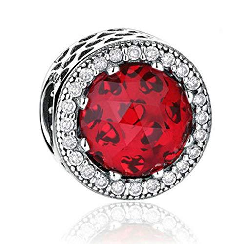 SUNWIDE Women Radiants Hearts Moonlight fit Pandora Charms Bracelets (Red)