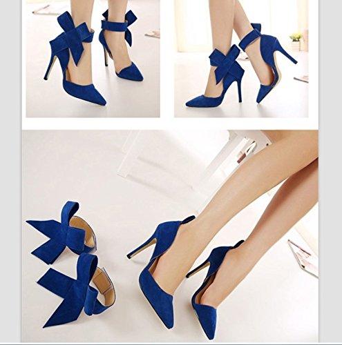 Astuce À Chaussures Mariée Lady Haute Main Ultime Hollow Sandales Couture Talons Bleu La Liangxie Peeps Heelsxiaoqi Grand Daim Papillon wpfxq6Sqn