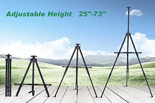 Display Easel Stand, Ohuhu 48-Pack 72'' Aluminum Metal Tripod Field Easel with Bag for Table-Top/Floor, Black Art Easels W/Adjustable Height from 25-72'' for Poster, Paint Back to School by Ohuhu (Image #1)
