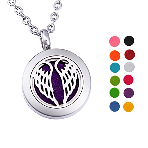Angel Wings Aromatherapy Essential Oil Diffuser Necklace Stainless Steel Round Locket Pendant 24
