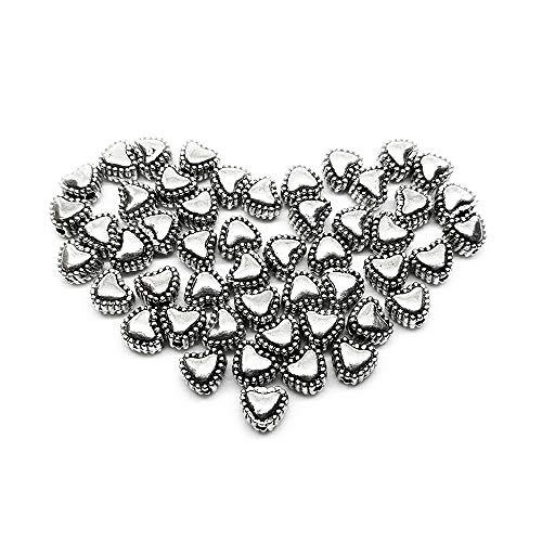 Beading Station 50-Piece Sweet Heart Spacer Metal Beads, 6mm, Tibetan Silver ()