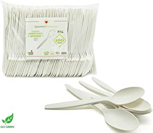 """[100 COUNT] 6.5"""" Spoons Disposable Cornstarch Compostable Utensils for Soup Event Picnic Appetizer Party Tasting (6.5 inch Long, Sustainable Cutlery Made of Corn, Dye Free, Heat Resistant)"""