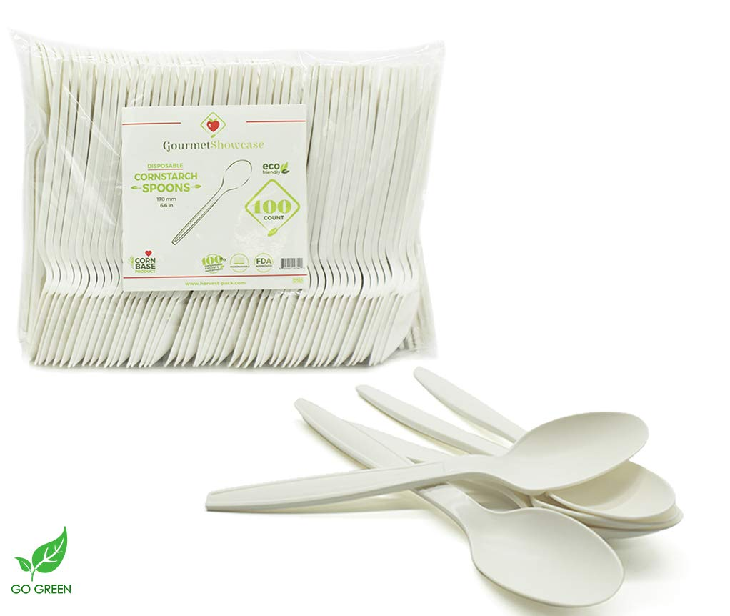 [800 Count] 6.5'' Spoons Disposable Cornstarch Compostable Utensils for Soup Event Picnic Appetizer Party Tasting (6.5 inch Long, Sustainable Cutlery Made of Corn, Dye Free, Heat Resistant) by Harvest Pack GOURMET SHOWCASE