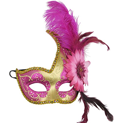 Masquerade Mask Halloween Ball Mask Christmas Costume Party Mask with Feather Pink -