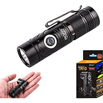 Rofis TR10 CREE XP-L HI V3 LED 900 Lumens Anglelight Magnetic Adjustable-head Ultra Compact Lightweight Tactical LED Flashlight (TR10)