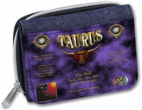 ZOD-2JW Taurus Star Sign Birthday Gift Girls//Ladies Denim Purse Wallet Christma