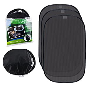 """21""""x14"""" Universal Static Cling Sun Shade for Car Side Window - (3 Pack for SUVs, Minivans and Large Sedans) - Sun Protection For Adults, Babies, Kids"""