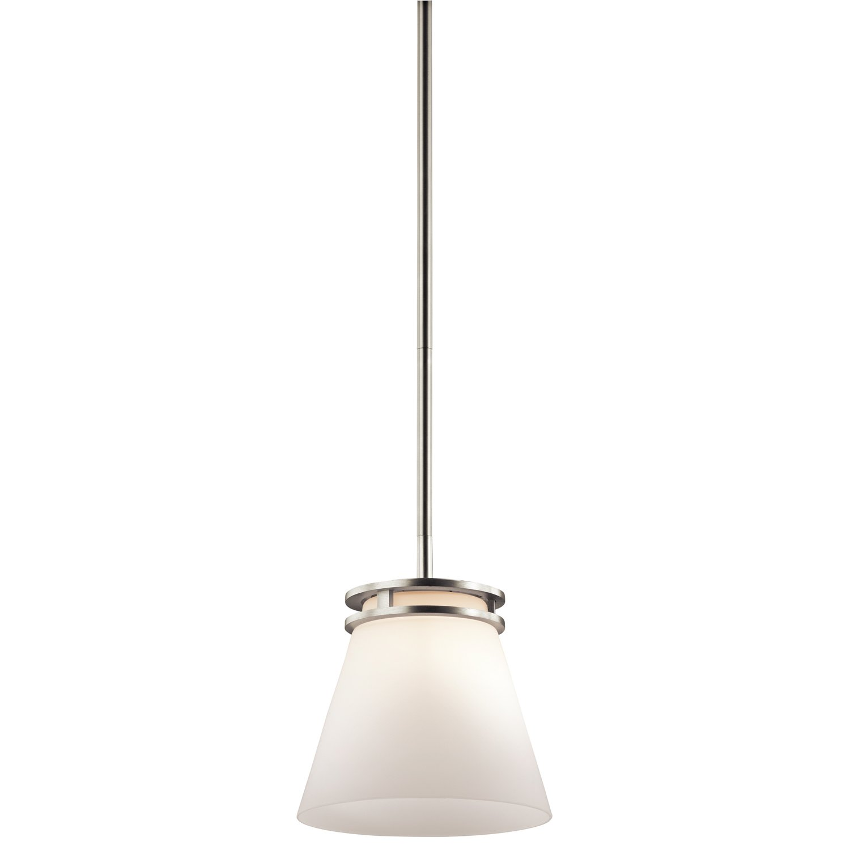 Kichler 1687NI, Hendrik Mini Cone Pendant, 1 Light, Brushed Nickel