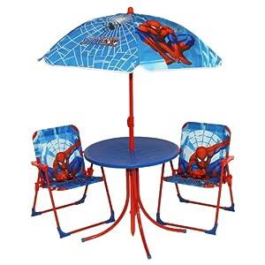 Kids Spiderman Garden Patio Outdoor Summer Furniture Table Chairs Umbrella Set