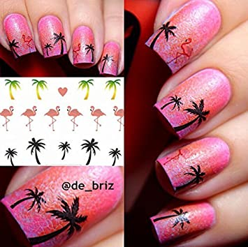 Amazon Born Pretty 1 Sheet Hawaii Coconut Tree Nail Art Water