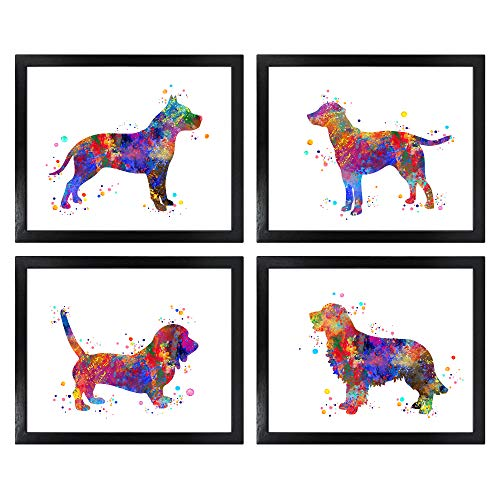 Dignovel Studios Unframed (Set of 4) 8X10 Labrador Pitbull Dachshund Golden Retriever Dog Puppy Watercolor Art Print dnc32