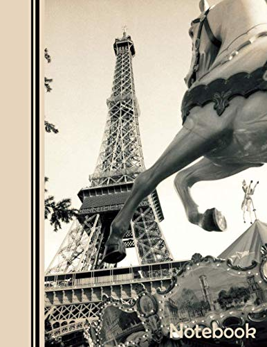 Notebook: Dot Grid Bullet Journal - Large (8.5x11 inch) with 123 Numbered Pages - Soft Matte Cover - Paris Eiffel Tower Sepia Tones (Matte Sepia)