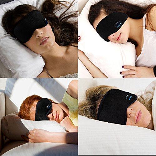 Bluetooth Sleeping Eye Mask Headphones,Lavince Wireless Bluetooth Headphones Music Travel Sleeping Headset 4.1 Bluetooth Eye Mask Handsfree Sleep Eye Shades Built-in Speakers Microphone Washable Black