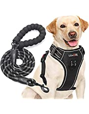 tobeDRI No Pull Dog Harness Adjustable Reflective Oxford Easy Control Medium Large Dog Harness with A Free Heavy Duty 5ft Dog Leash