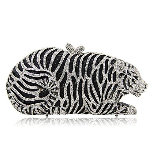 Femmes discothèques Qualité Color Animal Mariage Joy Silver pour Miss Bourse de Forme Luxe Tigre De De Haute Pochette De Mariage Silver Soirée Pochette Nuptiale Strass Ha5nBnqOI