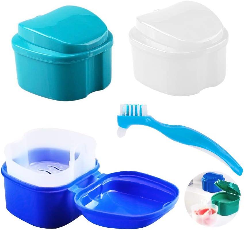 4Pzs Caja del Baño de la Dentadura con Cepillo de Limpieza (3+1), AUHOTA Caja del Almacenamiento de Los Dientes Falsos con Cesta de Enjuague Colgante, Baño para Dentadura Limpieza de Retenedores: Amazon.es:
