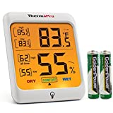 Appliances : ThermoPro TP53 Hygrometer Thermometer Humidity Gauge Indicator Digital Indoor Thermometer Room Temperature and Humidity Monitor with Touch Backlight for Humidifiers Dehumidifiers