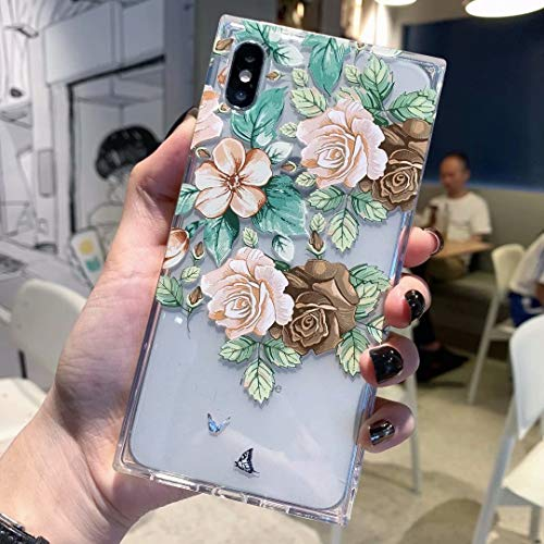iPhone Xs MAX Case for Girls, Tzomsze Square Clear Case Floral Flower Cute Case Reinforced Corners TPU Cushion, Soft Colorful Rose Floral Pattern Design Cute Slim TPU Silicone Cover