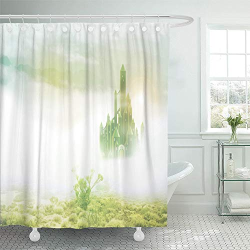 Emvency Shower Curtain Set Waterproof Adjustable Polyester Fabric Yellow Wizard Emerald City in Mist Green Road Brick Magic Fairytale Fantasy 60 x 72 Inches Set with Hooks for Bathroom