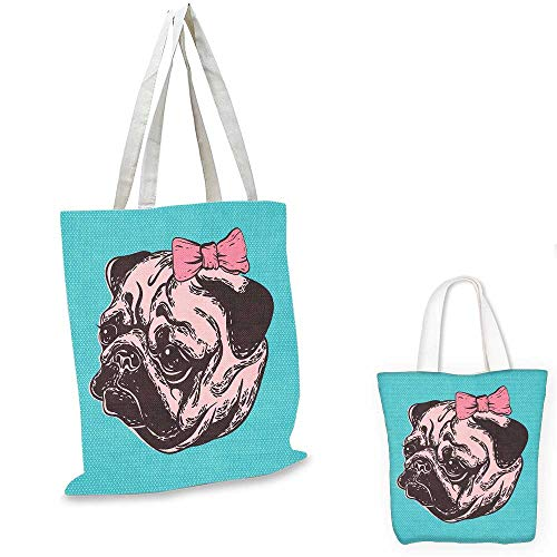 Pug canvas laptop bag Blue Background with the Cute Pug and Its Pink Buckle Adorable Animal Design Pet Print fruit shopping bag Blue Pink. 12