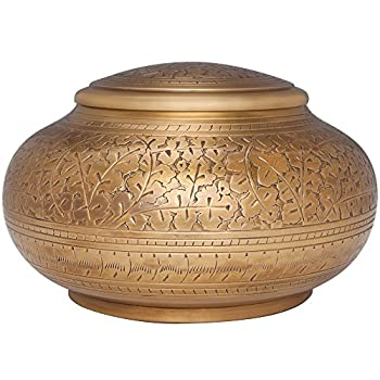 Image of Antique Gold Funeral Urn by Liliane Memorials - Cremation Urn for Human Ashes - Hand Made in Brass - Suitable for Cemetery Burial or Niche - Large Size fits Remains of Adults up to 110 lbs - Vignette Home and Kitchen