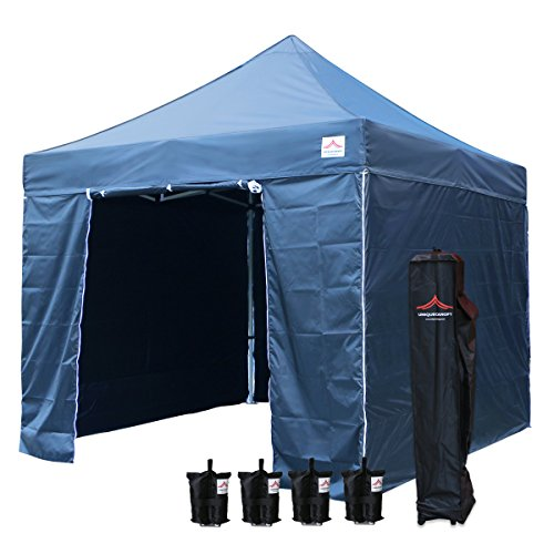 UNIQUECANOPY Enhanced 10x10 Ez Pop up Canopy Instant Tent Outdoor Party Portable Folded Commercial shelter, with 4 x Side Walls, Wheeled Carrying Bag and Bonus 4 x Sand Bags Navy Blue - 0.5' Blue Packing