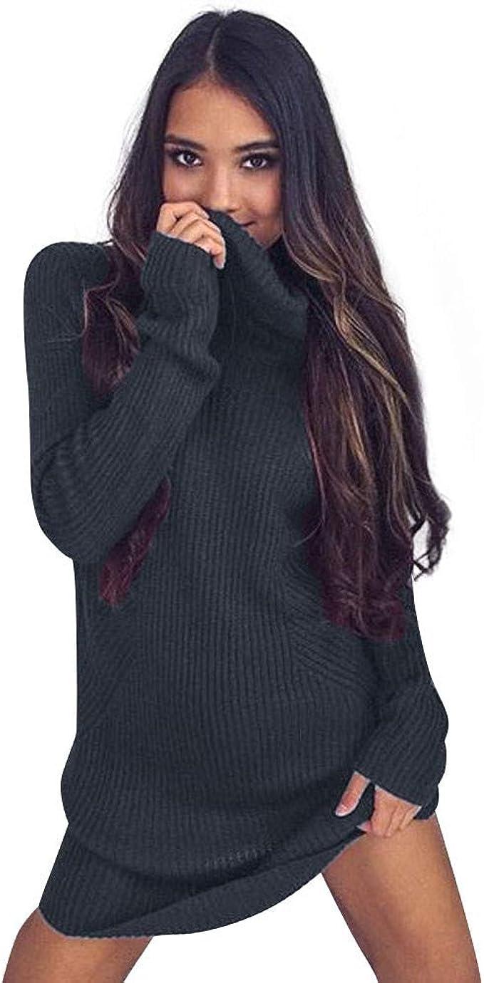 Damen Hoher Kragen Pullover Sweatshirt Strick Damen Pullover Minikleid Bluse Top